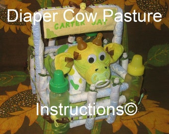 Cow pasture basket. Make it from DIAPERS. Make it, personalize it. GR8 for baby's first Christmas, Easter, etc