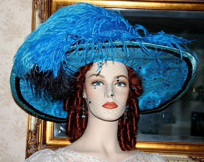 Featured listing image: Edwardian Style Hat Kentucky Derby Hat Edwardian Hat Elegant Hat Women's Hat - China Doll - Wide Brim Hat