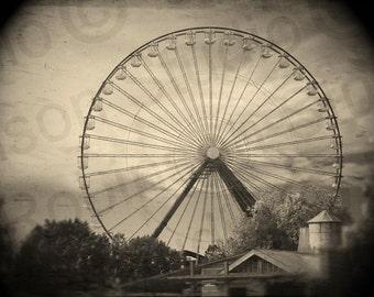 Ferris Wheel. Original Digital Photograph Art Print. Carnival Theme Park. Ride. Wall Art. Wall Decor. THE GREAT WHEEL by Mikel Robinson