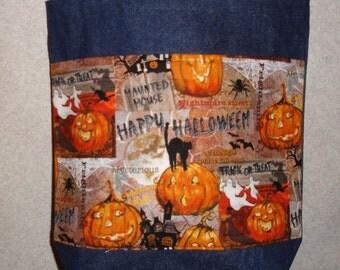 New Handmade Medium Funny Jack o Lanterns Pumpkin Halloween Denim Tote Bag