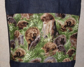 New Large Handmade Porcupine Nature Denim Tote Bag