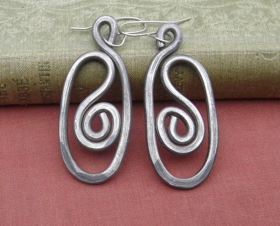 Oval Swirl Big Earrings -  Light Weight Hammered Aluminum Wire - Aluminum Jewelry - Spirals - Long Dangle Earrings, Women, Hammered, Boho
