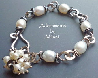 Pearl Bracelet Vintage Patina Wedding Mother of the Bride Groom Sterling Silver Artisan - La Femme