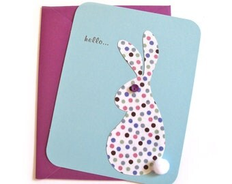 Hello Bunny Collage Notecard