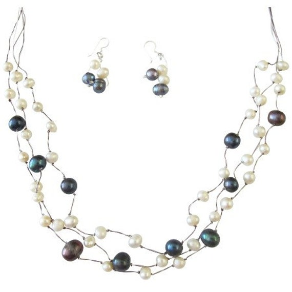 Freshwater Pearls Dark Blue Freshwater Pearls White Freshwater Pearls Three Stranded Silk Thread Necklace Jewelry Set Free Sipping in USA