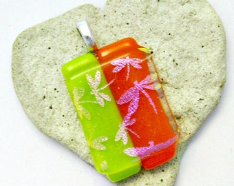 Pink Dichroic Dragonflies on Green Orange Fused Glass Pendant