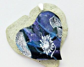 Dichroic Heart White Flower Fused Glass Pendant