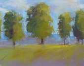 Trees Contemporary Landscape 5x7 Original Pastel Painting Karen Margulis