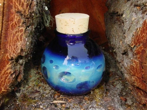 Many Moons glass stash jar bottle Made to Order
