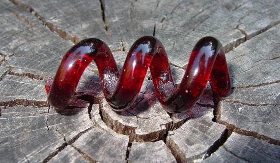 Red Corkscrew Twist Dreadlock glass squiggle dread bead