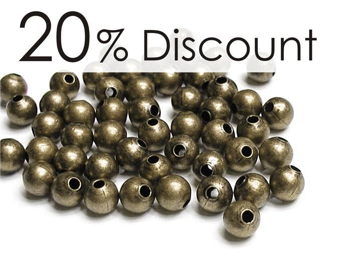 BDBAB-rd30 - Bead, Round, 3mm, Antique Brass - 500 Pieces (5pk)