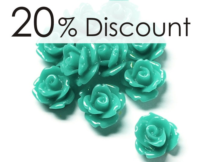 RSCRS-10TQ - Resin Cabochon, Rose 10mm, Turquoise - 50 Pieces (5pk)