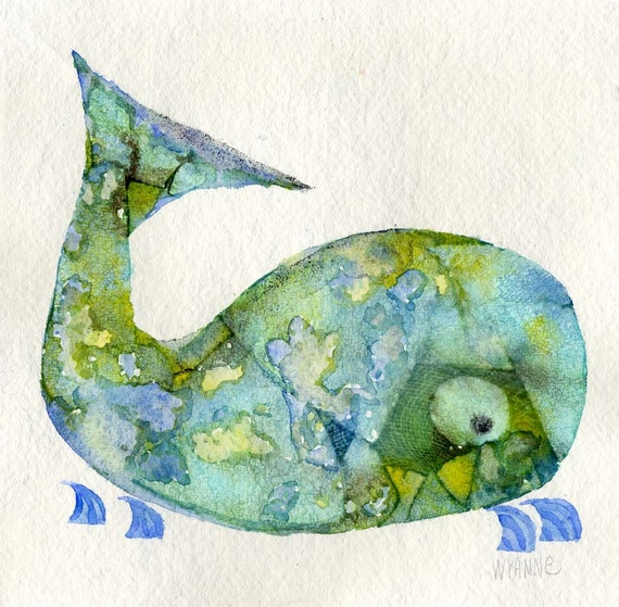 Blue Green Whale original painting