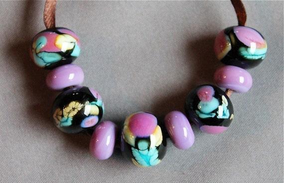 Elizabeth Creations PSYCHEDELIC artisan handmade lampwork beads SRA