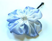 pale blue hydrangea hand sewn ribbon flower hairpin bobby pin with sparkling center