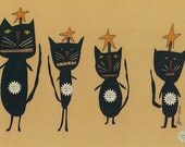 Primitive Art Folk Painting  Whimisical Print Card Folkart Halloween Black Cat Cats to Download by Hickety Pickety 5 X 7