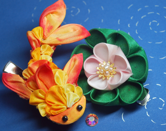 Summer  Goldfish. Yellow and Cadmium  (Kingyo.) Tsumami kanzashi. Japanese Ornate Hair Clip.