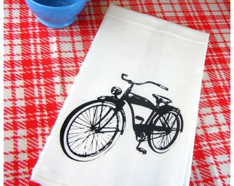 Retro Bicycle Kitchen Towels - Bike Tea Towel - CUTE Screen Print eco friendly gifts retro bikes gifts for him biking outdoors enthusiast