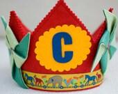 Circus Birthday -red pinwheel crown - Waldorf felt birthday crown