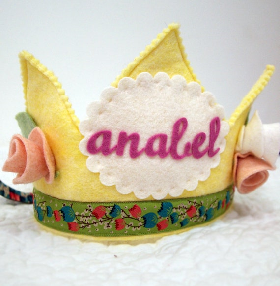 SALE  Waldorf Felt Birthday Crown - Crown of Roses - personalized