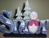Snowman, Snowmen, Christmas, Shades of Country, Snow Scene, Christmas trees, Holiday decoration, Blue,