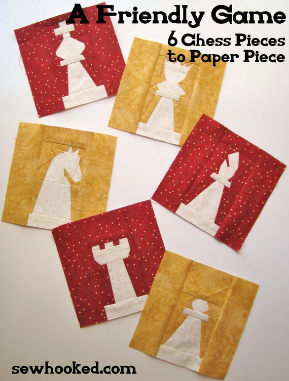 CLEARANCE SALE - A Friendly Game, 6 Chess Pieces to Paper Piece Printed Pattern