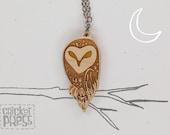 Owl - Wood Pendant Necklace