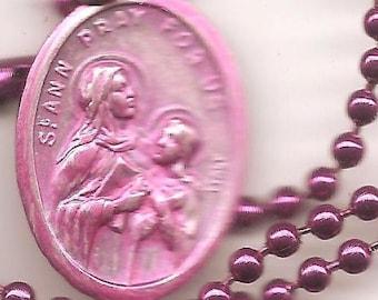 Seamstresses and Grandma's,  Pink St Ann Patron Saint Medal on Raspberry Ball Chain