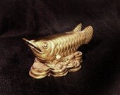 Vintage Feng Shui Wealth BRASS Arowana Fish with Chinese Coins