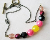 SALE! Handmade Beaded Necklace. Pink Black Yellow Mix. Jewelry For Women