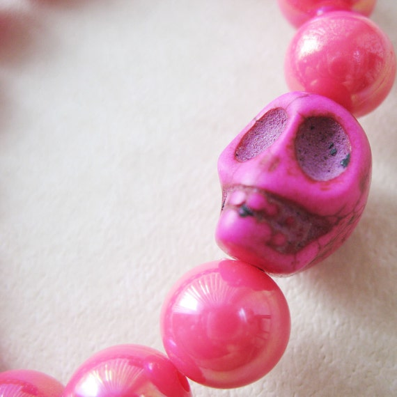Magenta Pink Skull Stretch Bracelet