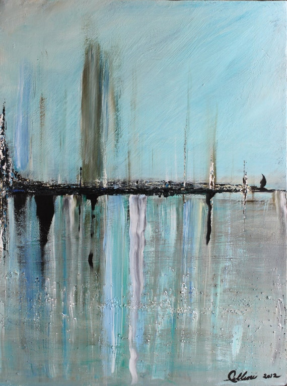 2 Original Acrylic Landscape Abstract Painting  Cityscape Palette Knife Textured Art Total Size 36x24