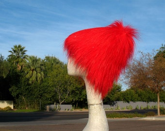 Very Red KOZY KITTY faux fur hat  -  Sparkly Red Tinsel super long -- men women - Mardi Gras Raver Santa EDM fuzzy hat