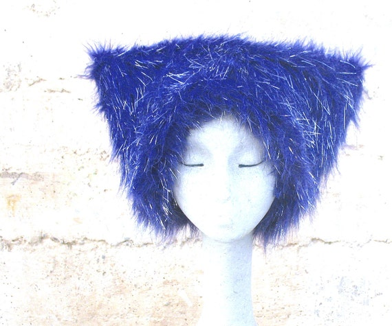 BlooTinsel Kozy KITTY faux fur hat - Mardi Gras Hat Blue Silver mens Large & XL only women Raver fuzzy hat blinkie EDM Disco photo booth hat