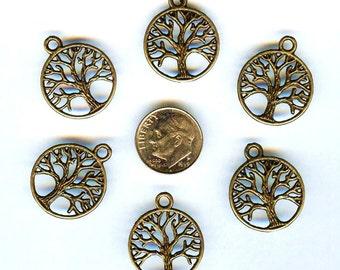 12 pcs NEW Bronze Tree of Life Tibetan Silver Pendants Charms Beads 20mm