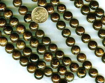 "10mm Awesome Bronzite Gemstone Round Beads 8"" Strand 20 pcs"