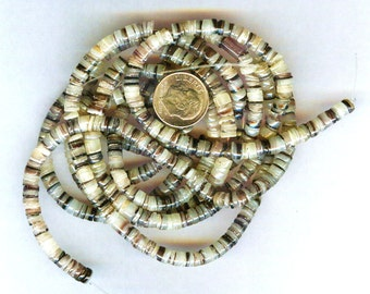 """4-5mm Hammershell Natural Oyster Shell Heishi Beads 24"""" Strand"""