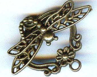 2 Dragonfly Bronze Highly Filigreed Toggle Clasp 26x22mm