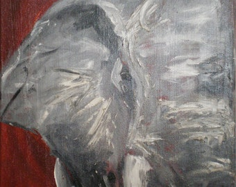 Patriarch - Red Elephant Acrylic Painting on Canvas