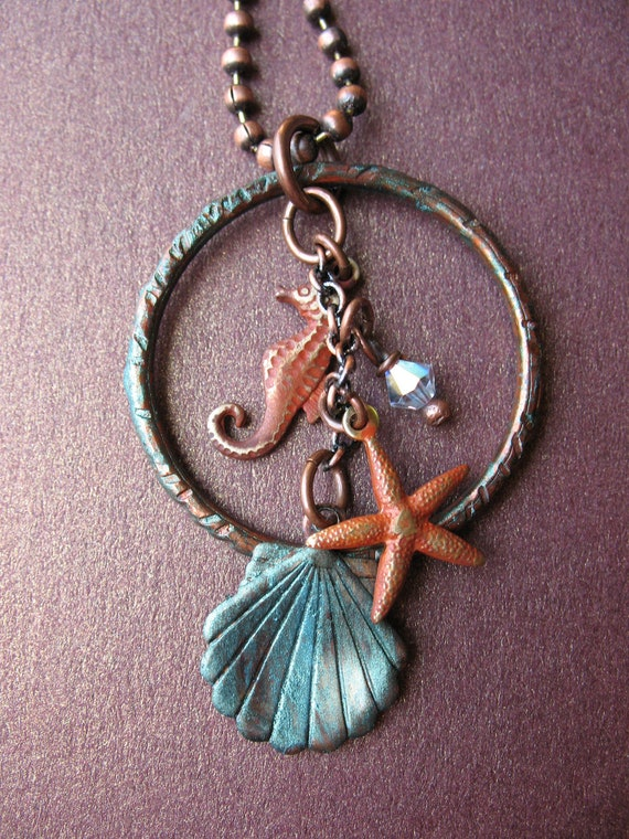 Sea Wishes Necklace - Patina Copper Charm Jewelry