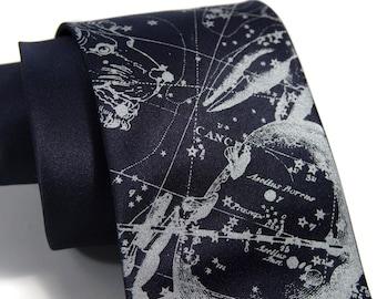 Cancer Zodiac necktie. Night sky constellation tie. Star chart men's tie. Silver crab print. Your choice of microfiber tie colors.
