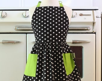 Retro Apron Black and White Polka Dot with Lime Green Full Apron for Little Girls