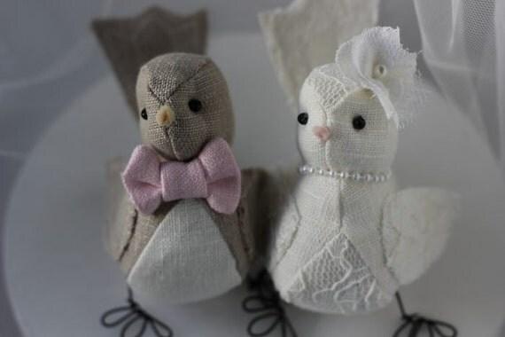 Wedding cake topper - Bird cake topper- Love birds  cake topper in natural and ivory  Custom Order