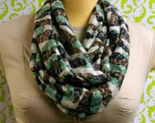 Sheer army camo burnout cotton stretch jersey knit, infinity, Eternity, Cowl, Circular, loop scarf