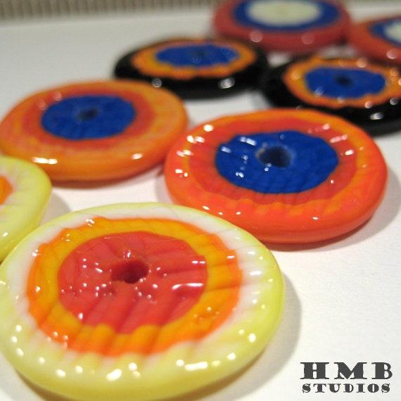 New from HMB Studios - Handmade Textured Lampwork Disc Beads - Beautiful Scarf