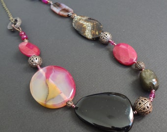 WHEN NIGHT FALLS beaded gemstone, crystal, shell, filigree and antique copper chain long ecclectic necklace. Black, hot pink, brown and red.
