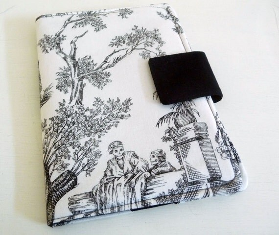 Cover for Kindle Touch or Paperwhite or Kobo eReader - Day of the Dead Toile, Black and White