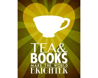 Tea & Books 8x10 - Tea Art Print Poster, Book Art, Reading Art, Teacup Art, Cafe Art, Kitchen Art Wall Decor, Library Art, Teahouse Art Chi