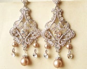 Champagne Pearl Bridal Earrings, Chandelier Wedding Earrings, Art Deco Statement Bridal Jewelry, Champagne Wedding Jewelry, ALESSANDRA