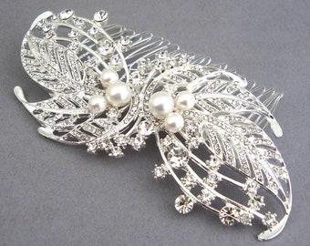 HALF PRICE SALE Large Pearl Rhinestone Bridal Hair Comb, Art Deco Wedding Comb, Vintage Wedding Hair Accessories, Crystal Hair Comb, Sascha